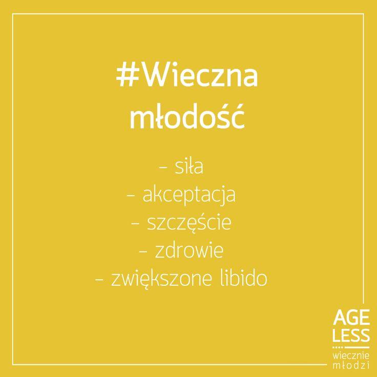 Jesteśmy po to, by pomóc Wam osiągnąć #wiecznamlodosc! Co jeszcze kojarzy Wam się z tym słowem? Kilka naszych propozycji... :) #sila #libido #akceptacja #szczescie #zdrowie #ageless www.ageless.pl