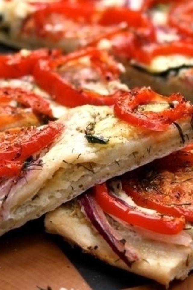 Roasted Veggie Flat Bread | food | Pinterest