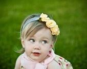 ..Beanie Baby, Yellow Rose, Cream Hydrangeas, Baby Headbands, Baby Girls, Lemon Cream, Knits Headbands, Flower Girls, Girls Headbands
