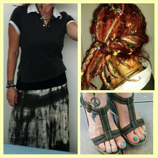 #styling a good #oldashioned #tiedied skirt with a colored t shirt and #wedgeshoes. Flat stick today so did a roll and tuck with my #dreadlocks. #Namaste #peace #innerpeace #hippiefitness #hippieatheart #hippiefashion #bohemiamfashion