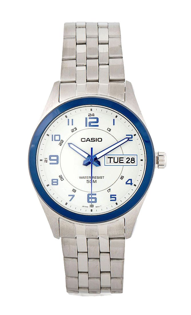 Blue Case Mtp 1354D 8B1Vdf Watch by CASIO, classic style watch with silver color and blue list on the case, analog watch that made from stainless steel, round case, 50 M water resistant, diameter 4 cm, strap length 24 cm, fold clasp fastening.   http://zocko.it/PDOF