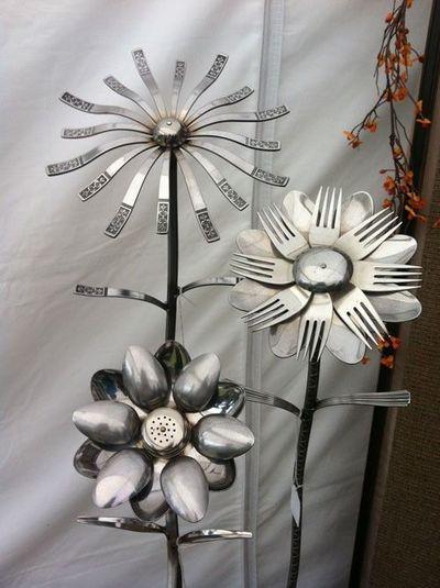 Flatware garden ornaments.