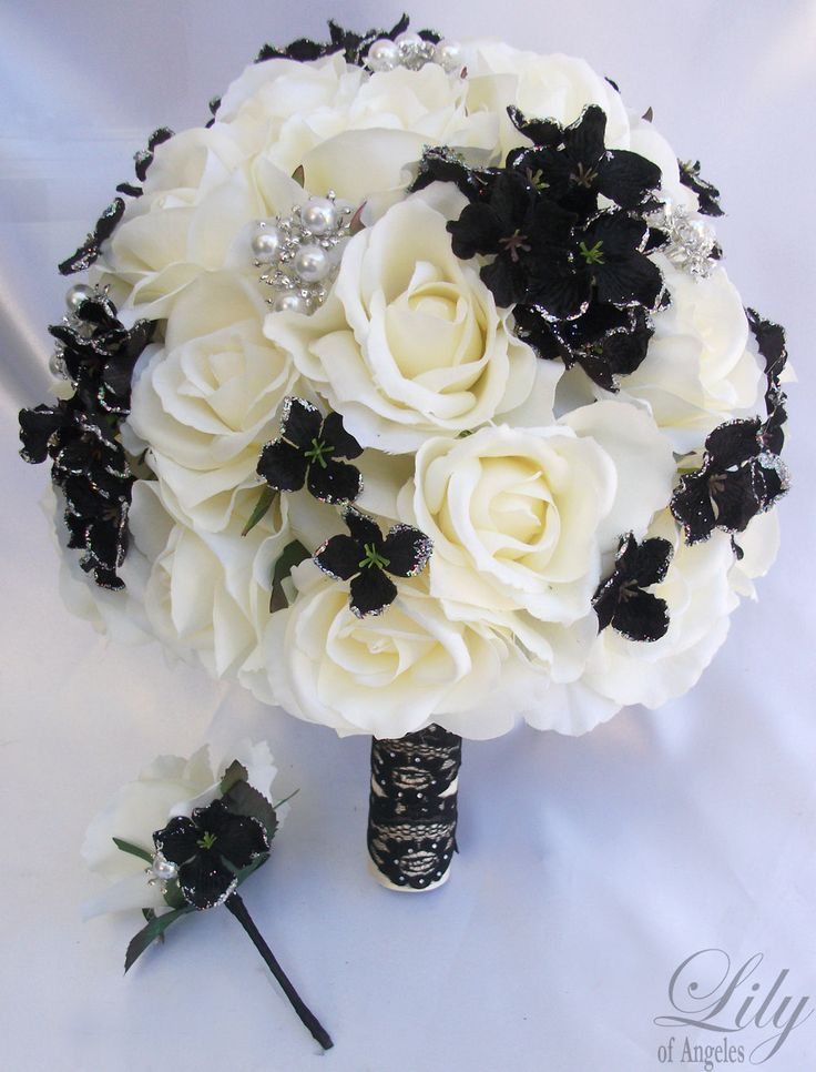 2pcs Wedding Bridal Bride Bouquet Groom Boutonniere w/Gem Jewelry IVORY BLACK. $129.99, via Etsy.