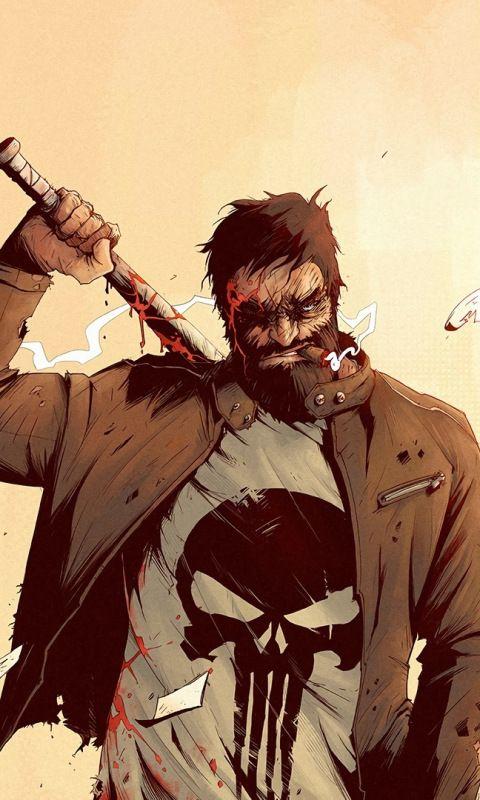 Punisher, comics, art, 480x800 wallpaper