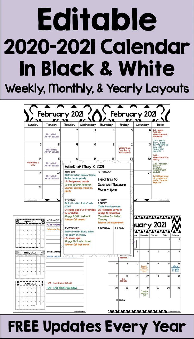 Editable 2020-2021 Calendar in Black and White Designs ...
