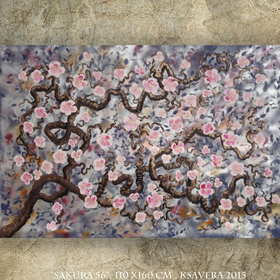 "CHERRY BLOSSOMS art sakura TREE art silver painting contemporary artwork on unstretched canvas by Ksavera 44""x64"" large wall art by KsaveraART #TrendingEtsy"