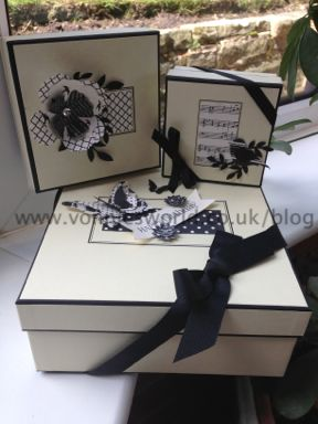 Recycled Jo Malone packaging boxes using Stampin' Up's Modern Medley DSP