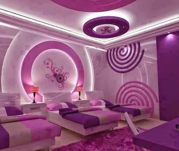 Modernos dormitorios adolescentes lila habitaciones para - Pintar paredes estucadas ...