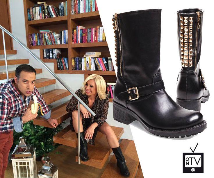 "Katerina Karavatou wearing her #MIGATO XN02 studded biker boots at ""Sta Kala Kathoumena"" TV Show!"