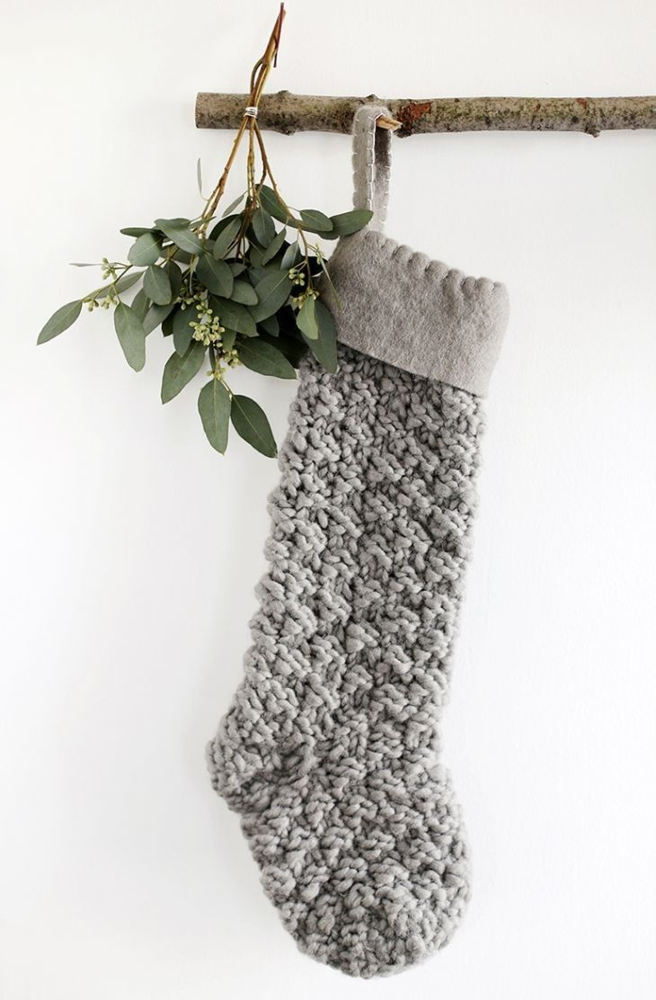 Yule style!! Noel Christmas! Winter solstice!! Wonderful gray knitted Christmas stocking! Love the chunky texture!
