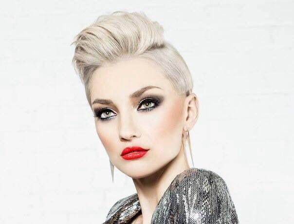 Short Hair beauty, red lipstick  , blonde , silver , короткая стрижка, красная помада , портрет, модель
