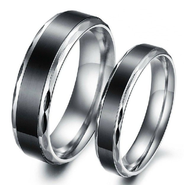 Black Titanium Steel Promise Ring For Lovers Couple Wedding Bands Engravable Matching Sets(Price For A Pair) - Personalized Rings