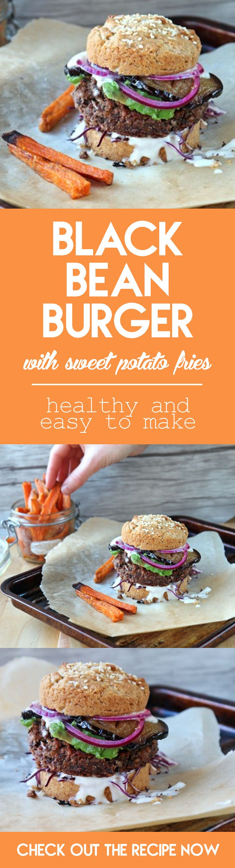 Black Bean Burger Recipe with Sweet Potato Fries