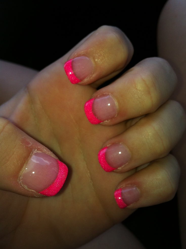 Neon Pink Solar French Tips | Nails | Pinterest | Pink ...