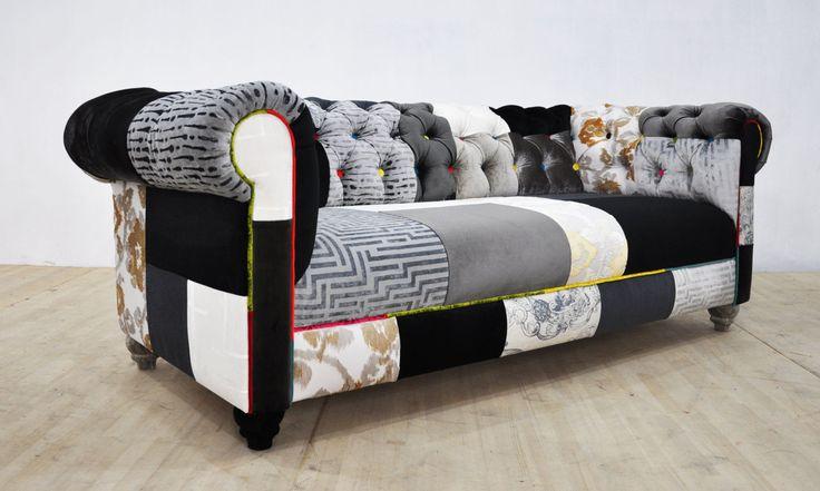 BLACK & WHITE chesterfield patchwork sofa by namedesignstudio
