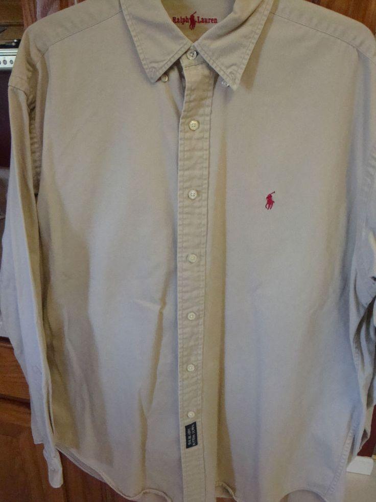 Ralph lauren polo mens shirt large l blaire button down for Heavy button down shirts