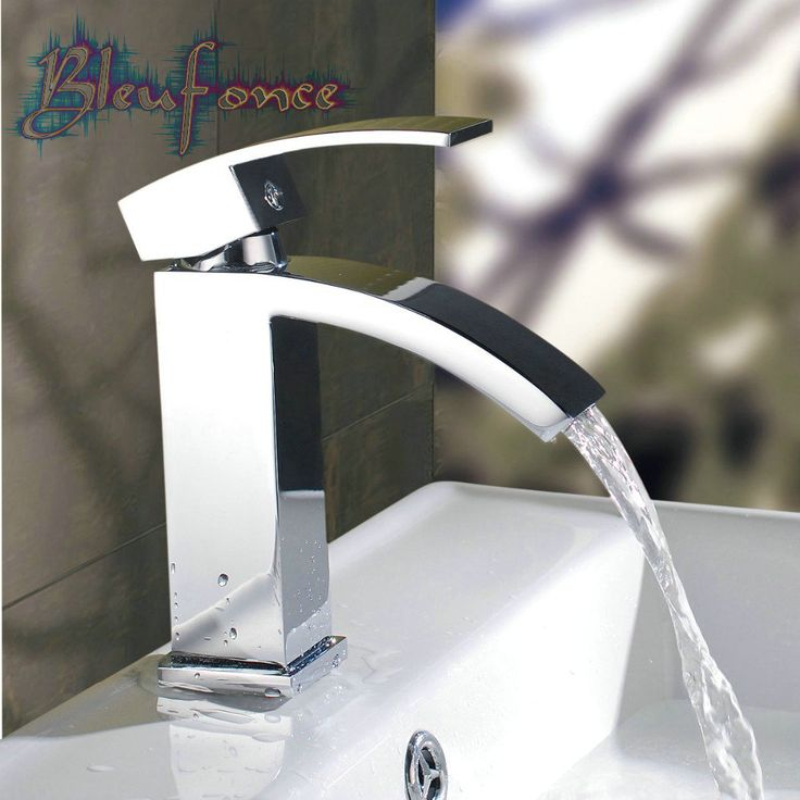 All Copper Faucet Flat Mouth Waterfall Faucet Hot And Cold Water Basin Faucet Wash Basin faucets bathroom Taps Free Shipping