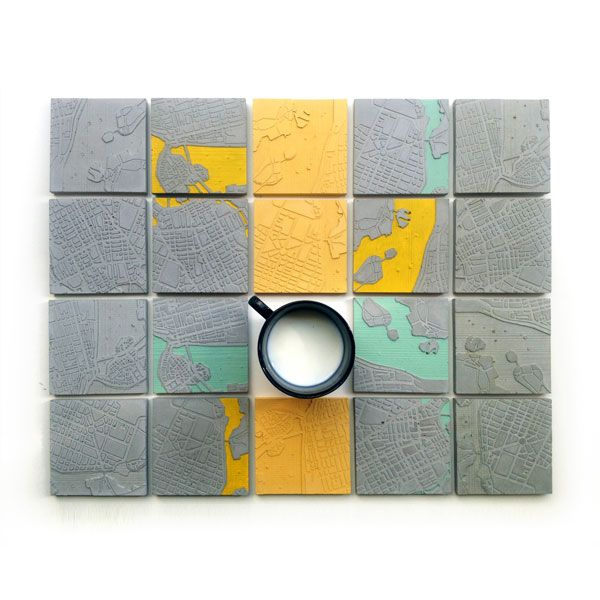 The creative duet A Future Perfect, from the #Campana Brothers #workshop, transformed Athens' & #Stockholm's center #maps into a three-dimensional everyday use object, the #coaster! #design #art