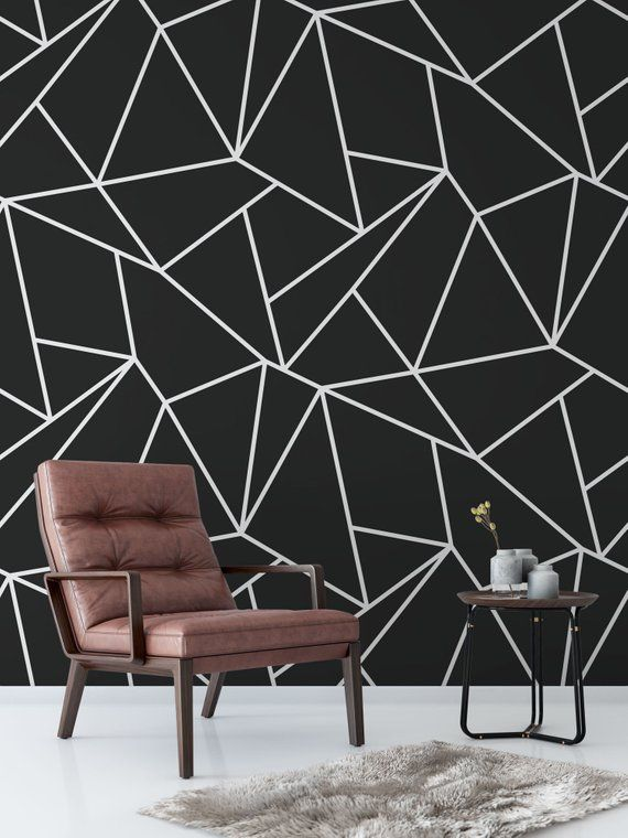 Geometric Wallpaper Black And White Removable Wallpaper Black Wallpaper Bedroom Bedroom Wall Paint Bedroom Paint Design