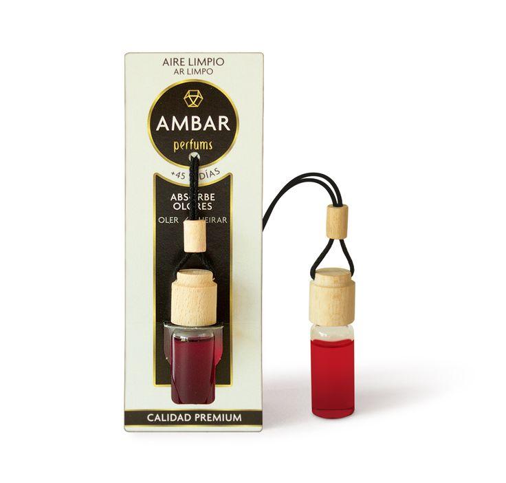 Ambientador colgante para el coche con aroma a Aire Limpio, 0% Alcohol, Perfume Calidad Premium. Elimina los malos olores. Con extractos naturales. +45 días.