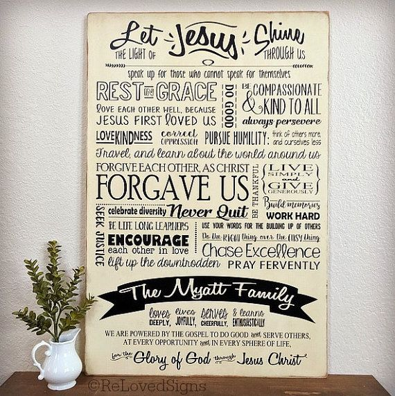 Does your family have a set of Family Values, or a Family Mission Statement? This large custom painted family board sign is a beautiful way to celebrate your family, and serves as a daily visual reminder of those things you cherish! This piece was created from a Family Mission Statement and a list of Family Values. The family values are laid out in a subway style format. I used a combination of font styles to highlight each phrase and quote, which balances the signs clean lines and…