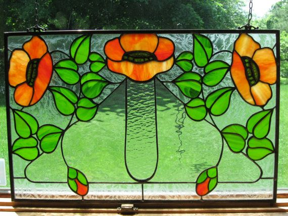 Poppy art nouveau craftsman style stained glass window for Kelling designs
