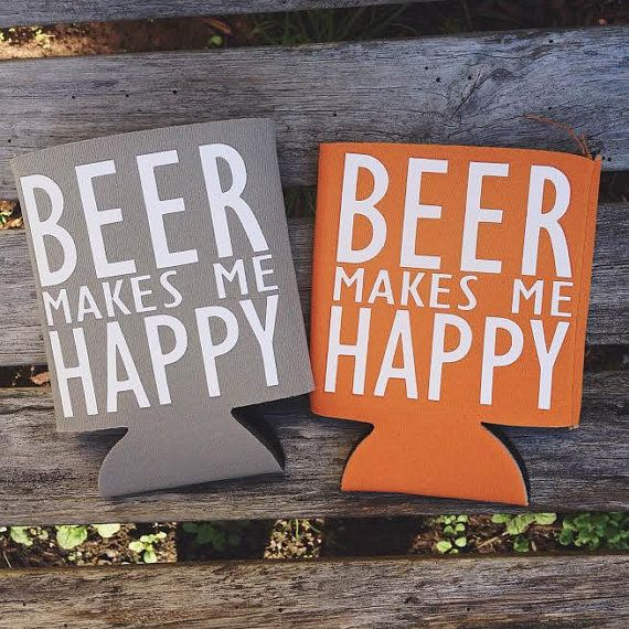 I'm seriously obsessed with these! #cr2f #koozies #beer  hand-printed koozie with Beer Makes Me Happy quote. White or gray vinyl available, please specify in notes. available colors are red, burnt orange, orange,