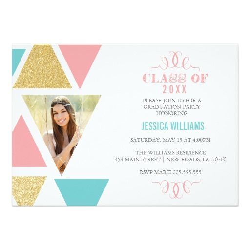 100 best cute graduation invitations images on pinterest geometric triangles graduation invitations filmwisefo
