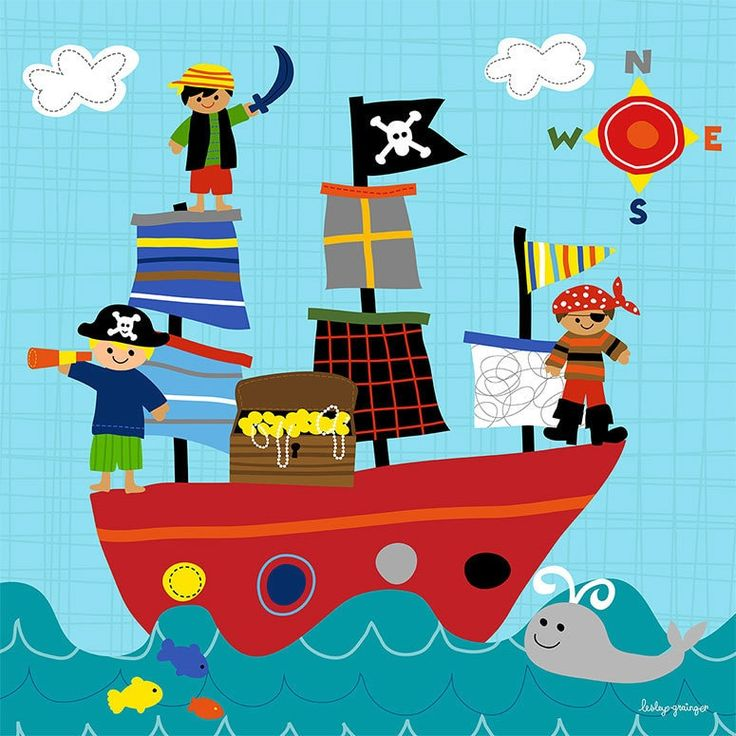 Oopsy Daisy Pirate Ship Playtime Stretched Canvas Wall Art, Blue