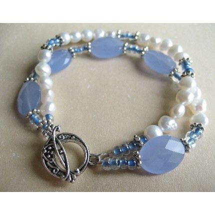 Freshwater pearl blue Czech glass double strand bracelet, Colgan Design