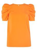 Womens **Tall Orange Puff Sleeve Top- Orange