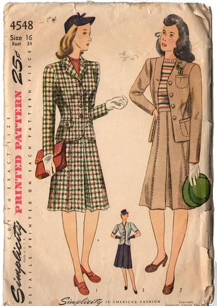 Vintage 1940s Simplicity Sewing Pattern 4548 Two Piece Women's Suit with Skirt and Jacket