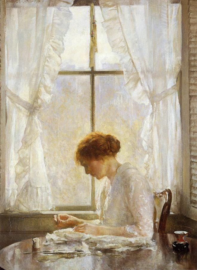 "Joseph Rodefer de Camp (1858-1923)  The Seamstress  Oil on canvas  1916  71.12 x 92.71 cm  (28"" x 3')  Corcoran Gallery of Art (Washington, DC, United States)"