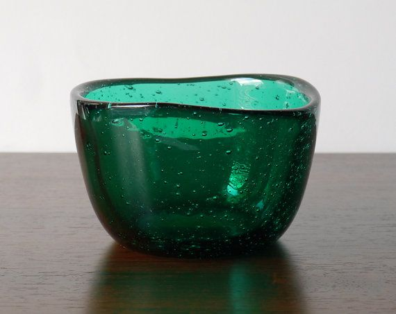 Norwegian Midcentury Modern Hadeland Green Art Glass by NordicForm, £48.00