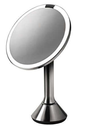 The Best Lighting for Applying Makeup =Warm white bulb 3200 kelvin generally most beautiful on everyone.Recessed down lighting is the worst! Simple Human Sensor Mirror, $200, is cordless and the LED light won't burn out for years.