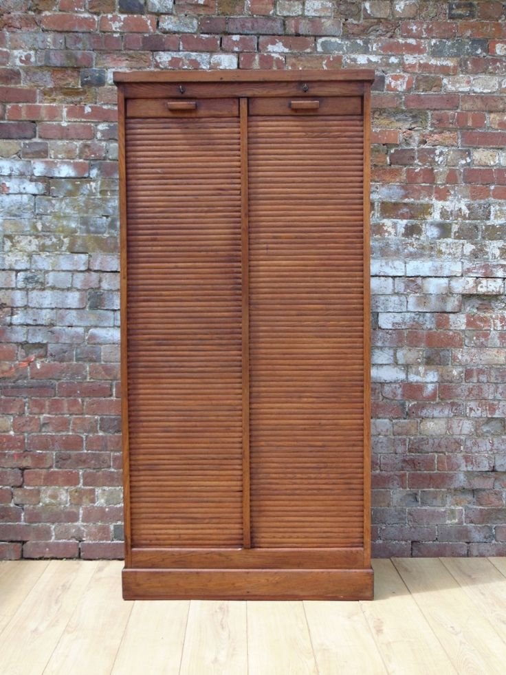 Industrial Double Tambour Front Cabinet In Oak 1940s
