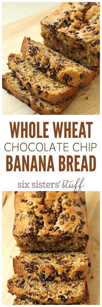 Whole Wheat Chocolate Chip Banana Bread Recipe - a delicious breakfast or afternoon coffee break treat.