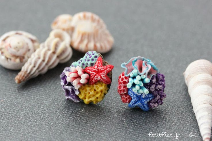 PetitPlat Miniatures by Stephanie Kilgast: More Underwater Treasures - Corals and Starfishes :) Polymer Clay Art Jewerly / Bijoux Fimo Coraux