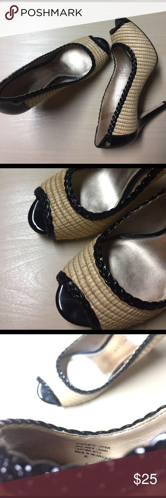 "Antonio Melani Patent Basketweave Braided Peeptoe Antonio Melani Patent Basketweave Braided Peeptoe // Super cute!  Approx 3.5"" Heel // excellent condition! Leather soles. ANTONIO MELANI Shoes Heels"