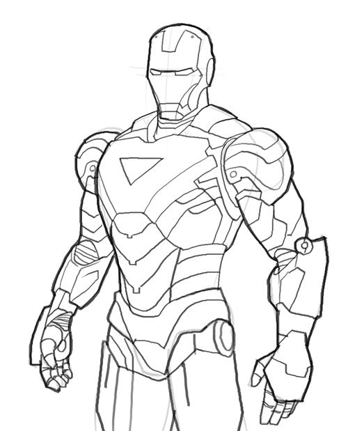 How to draw Iron Man from The Avengers, Marvel comics, version Mark ...