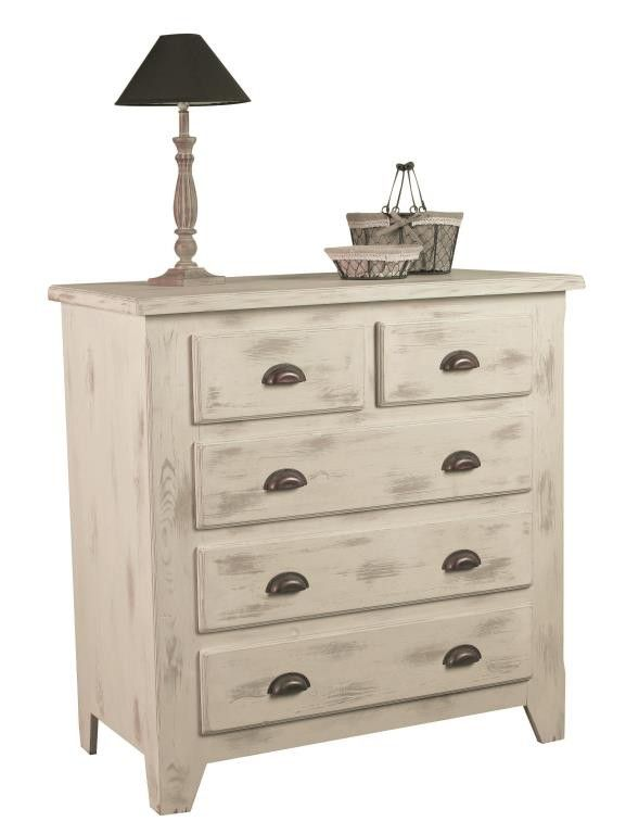 Commode Pin Blanchi 5 Tiroirs 100x50x100cm Rivage Commode En Pin Commode Commode Bois