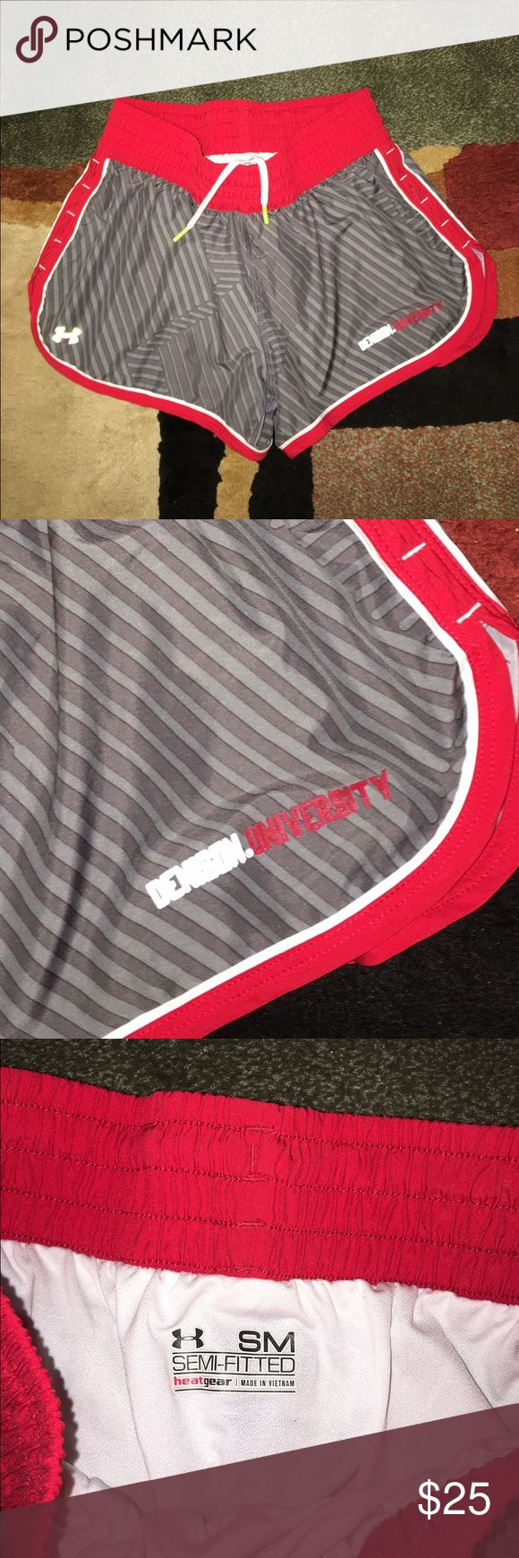 UNDER ARMOUR DENISON UNIVERSITY RUNNING SHORTS UNDER ARMOUR DENISON UNIVERSITY OF GRANVILLE OHIO RED GREY N WHITE RUNNING SHORTS WITH WIDE ELASTIC WAISTBAND N DRAWSTRING WITH WHITE UNDERGARMENTS  SM SEMI-FITTED WORN ONE TIME Under Armour Shorts
