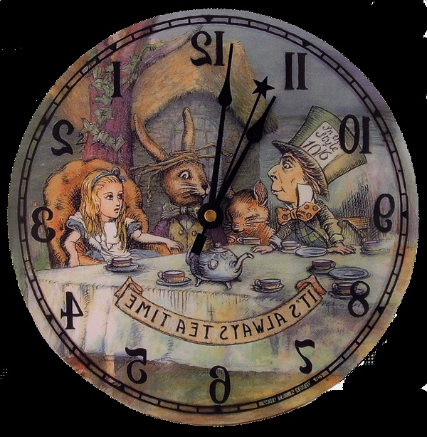 Alice in wonderland clock - runs backwards item number 221010687710