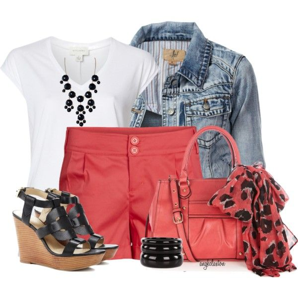 Casual OutfitJeans Jackets, Colors Shorts, Orange Shorts, Summer Work Outfit, Cute Summer Outfit, Summer Outfits, Fashionista Trends, Casual Outfits, Coral Shorts