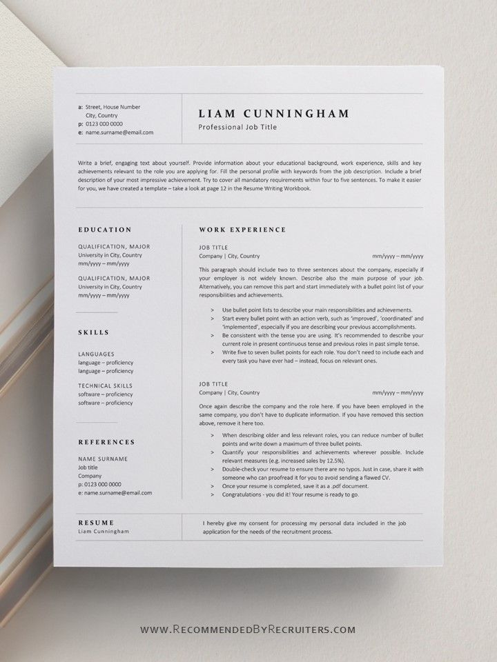 Sophisticated Elegant And Minimalist Resume Design Professional One Page Resume Template One Page Resume Template Business Resume Template Resume Design