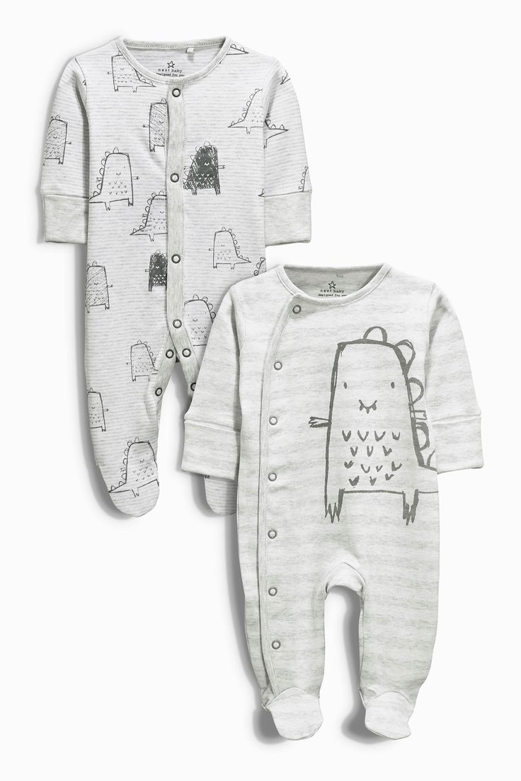 Buy Two Pack Grey Dino Sleepsuits (0mths-2yrs) from the Next UK online shop
