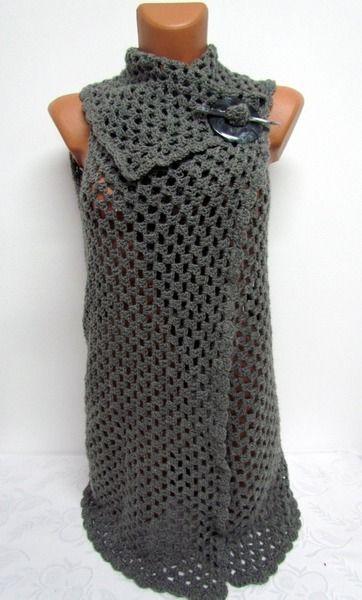 Tuniken - Cardigan Häkeln, ärmellos, Mantel, hellen Weste, S - ein Designerstück von Strickte-Art bei DaWanda