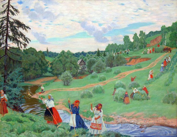 Boris Kustodiev - Haymaking  1917