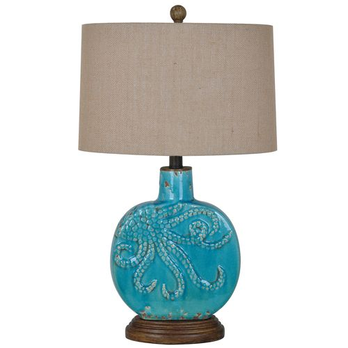 Inspired By The Ocean, This Coastal Table Lamp Features A Ceramic Base  Adorned With An Octopus Motif. Finished In Antique Turquoise And Topped  With A Burlap ...