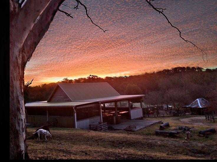Winter sunset over the Cider Barn
